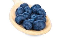 Närbild av ett saftigt, healthful och smakligt blåbär i en träsked som isoleras på en vit bakgrund Organisk hög av bär för royaltyfri fotografi