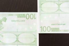 Närbild av 100 Eurosedlar Arkivbilder