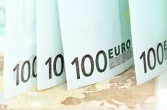 Närbild av eurosedlar Royaltyfri Bild