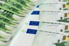 Närbild av 100 Eurosedlar Arkivfoto