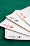 Närbild av fyra leka kort royaltyfri bild