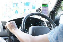 Närbild av gps-navigeringsystemet i bil Arkivfoton