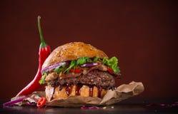 Närbild av hem- gjorda hamburgare Arkivbilder