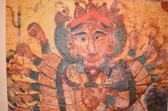 Närbild av hinduisk gudinnamålning Royaltyfria Bilder