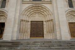 Närbild av ingången till basilikan av St Denis Fotografering för Bildbyråer