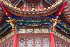 Närbild av kinesisk byggnad arkivfoto