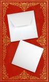 Närbild av kuvertet och kortet royaltyfria foton