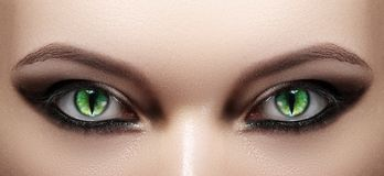 Närbild av kvinnaögon för halloween för svart hår le för lång look pumpa för makeup sexigt skjutit till häxakvinnan Cat Eye Lens  royaltyfri fotografi