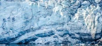 Närbild av Margerie Glacier i Alaska Arkivfoton