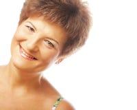 Närbild av moget le för kvinna Royaltyfria Foton