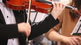 Närbild av musikern som spelar klassisk musik på fiolen arkivfilmer