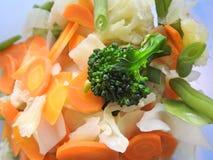 Närbild av några lagade mat och högg av grönsaker royaltyfri foto