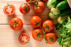 Närbild av nya mogna tomater med grönsaker Royaltyfria Foton