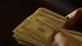 Närbild av räknande hundra räkningar för en dollar lager videofilmer