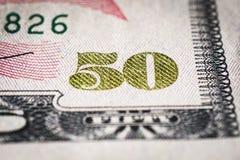 Närbild av räkningen för dollar 50 royaltyfri bild