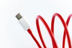 Närbild av röd USB typ-ckabel Royaltyfria Foton