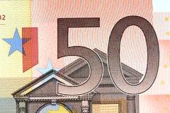Närbild av sedeln för euro 50 Royaltyfria Foton