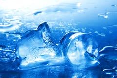 Närbild av smältande iskuber kall refreshment royaltyfria foton
