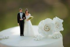 Närbild av statyettpar på bröllopstårtan arkivfoton