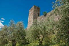 Närbild av stenväggarna av den Monteriggioni lilla byn royaltyfri foto