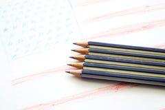 Närbild av svarta blyertspennor Royaltyfri Fotografi