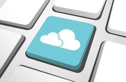 Närbild av symbolen för dator för moln för himmelblått den beräknande vektor illustrationer