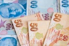 Närbild av turkiska sedlar, olika räkningar Royaltyfri Bild