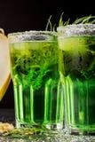 Närbild av två uppfriskande gröna coctailar med dragonsidor och iskuber på en svart bakgrund Sommardrycker Royaltyfri Bild