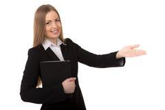 Närbild av ungt göra en gest för affärskvinna Arkivbild
