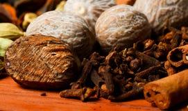 Närbild av variation av kryddor Arkivbild