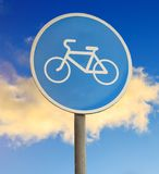 Närbild för cykelbanatecken Fotografering för Bildbyråer