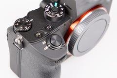 Närbild för digital kamera för detalj med ingen lins i vit bakgrund arkivfoto