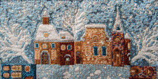 Närbild för Gobelingobelängfragment med vintertema Royaltyfri Bild