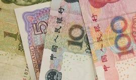 Närbild för kinesYuan Renminbi sedlar Arkivfoto