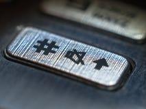 Närbild för knapp för Ð-mobiltelefon Arkivfoto