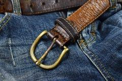 Närbild för läderbälte Royaltyfri Fotografi