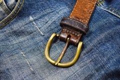 Närbild för läderbälte Royaltyfri Foto