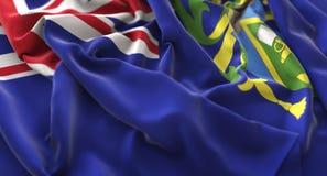 Närbild för makro för Pitcairn öar flagga rufsad Beautifully vinkande Arkivbild