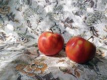 Närbild för två äpplen på en mönstrad bordduk för linne royaltyfri foto