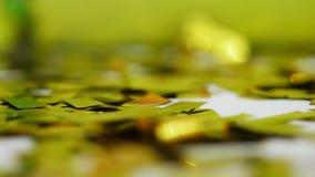 Närbild guld- paljetter från smällare, festligt glitter, garneringar lager videofilmer