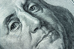 Närbild på Benjamin Franklin Fotografering för Bildbyråer