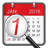 Närbild på 1 Januari 2018 royaltyfri illustrationer