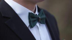 Närbild på nerden, man i fluga Man` s räcker handlagflugan på en dräkt eller en smoking Man i en skjorta och en fluga Arkivfoton