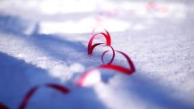 Närbild på snön är mång--färgade glitter och konfettier ekologiskt trä för julgarneringar stock video