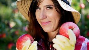 Närbild stående av en kvinnabonde som bär en hatt och handskar som rymmer i händer två stora röda äpplen plockningäpplen på lager videofilmer