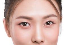 Närbildbild av asiatiska ögon arkivbilder