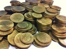 Närbildbild av det thailändska guld- myntet Royaltyfri Foto