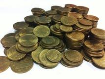 Närbildbild av det thailändska guld- myntet Arkivbilder