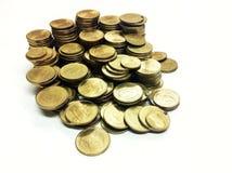 Närbildbild av det thailändska guld- myntet Royaltyfri Fotografi