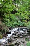 Närbildbild av en liten lös vattenfall i form av korta strömmar av vatten mellan bergstenar Royaltyfri Bild
